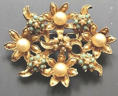 Vintage Gold Plated Turquoise & Seed Pearl Floral Brooch