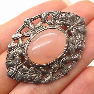 Vtg 925 Sterling Silver Real Rose Quartz Gemstone Leaf Design Pin Brooch