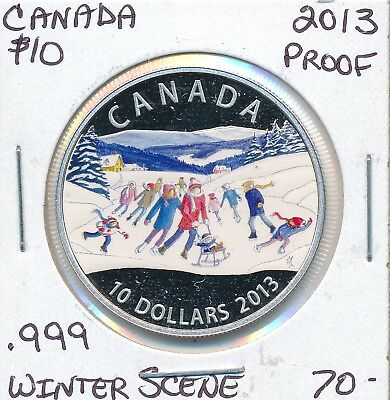 Canada 10 Dollars 2013 Winter Scene  - Proof .999 Fine Silver