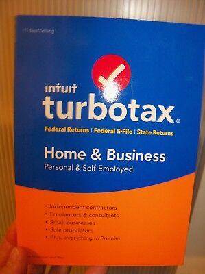 Turbo Tax 2017 HOME & BUSINESS Fed & State Returns + Federal E-File NEW SEALED