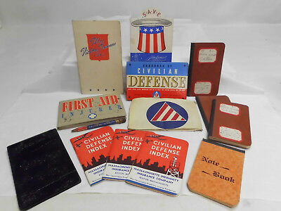 Wwii Civil Defense Lot Armband Books Pamphlets Hand Written Notes Victory Funds