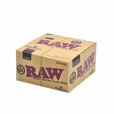 Box 24 Packs Raw CLASSIC KING SIZE Connoisseur Rolling Papers + Tips