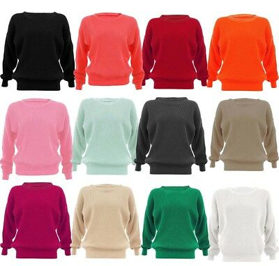 New Womens Ladies Chunky Knit Cable Knitted Round Neck Oversized Baggy Jumper
