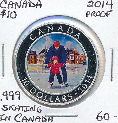 Canada 10 Dollars 2014 Skating In Canada - Proof .999 Fine Silver