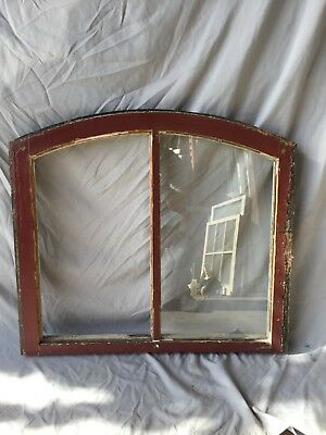 Antique Red Semi Arched Dome Top 2 Lite Window Sash 25X28 Shabby Vtg 224-18C