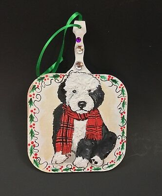 Old English sheepdog pup HAND PAINTED mixed media Christmas ornament Unique! I