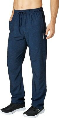 Reebok Men's Woven Tapered Fit Drawstring Printed Pants Speedwick Blue Heather