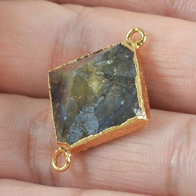 Natural Labradorite Faceted Point Connector Gold Plated B064539