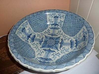 19Thc Japanese/oriental  Porcelain 31Cm Bowl With Blue Flower/leaf&pattern Decor