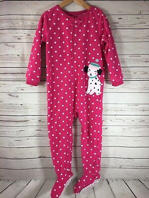 afc1ddd6342c CARTERS GIRLS PUPPY Dog Footed Pajamas Size 4T One-Piece Fleece Pink ...