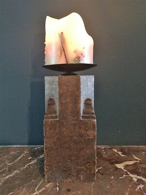 Large chunky reclaimed wooden centrepiece Christmas candlestick