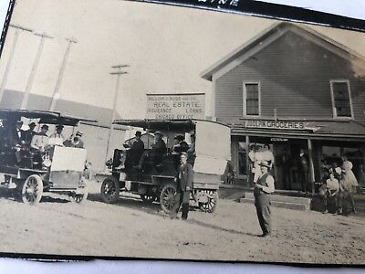 "1800""s  Antique Photo automobile  grocery & insurance & people"