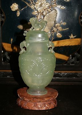 Antique Chinese Jade Covered Vase