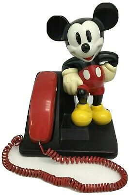 Mickey Mouse Figure Touch Tone Telephone AT&T Red Handset
