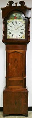 Antique English Alfreton C1800 Oak & Mahogany 8 Day Longcase Grandfather Clock