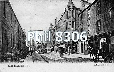 Postcard of Perth Road, Dundee, showing tram - Valentine's Series