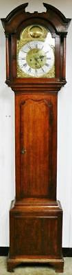 Rare Antique C1750 Leeds 8 Day English Oak Brass Dial Grandfather Longcase Clock