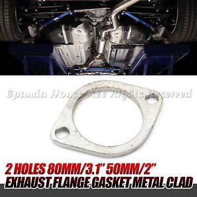 """FOR EURO CAR US 2.3/"""" 3/"""" EXHAUST FLANGE COLLECTOR GASKET METAL CLAD 2 BOLT HOLES"""