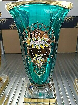 Czech Bohemia crystal glass - Color Vase 29cm decorated smalt and gold- 6 colors