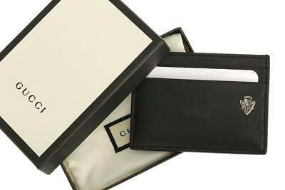 New Gucci Crest Logo Leather Card Holder Case