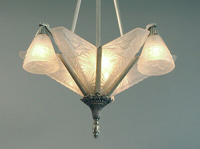 "Classic French Art Deco Chandelier, 6 Huge & Decorated ""Slip"" Shades 3 ""tulipes"""