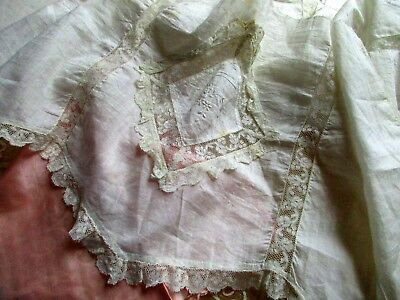 Antique Edwardian Sheer Delicate Cotton Flounce Applique Lace Trim Petticoat