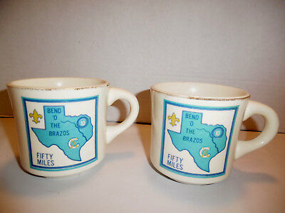 Vintage Boy Scouts Coffee Cups Fifty Miles Brazos