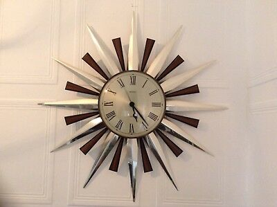 Vintage Retro Iconic Metamec Sunburst 1960's-1970's Wall Clock Collectable Wow!