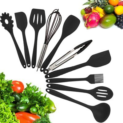 10-Piece Silicone Kitchen Utensil Set Non-Stick Heat-Resistant Cooking Tools US