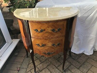 French Inlaid Marble Top Commode