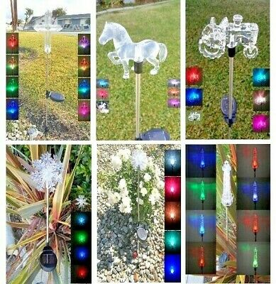 1-Piece Garden Decoration Solar Powered Color Changing Pathway Lawn Patio Stake