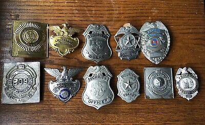 Vintage Lot of 11 Security Officer Guard Badges