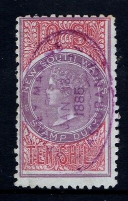 New South Wales;Revenue.1868 Victoria Stamp Duty Purple 10/-Shilling NSW Superb