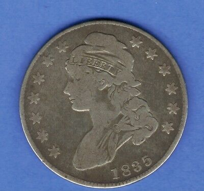 1835  Capped Bust Lettered Edge Half Dollar  Silver Us Coin  ......612