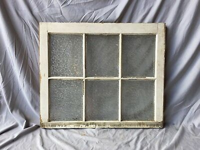 Antique 6 Lite Florentine Privacy Glass Window Sash 24x28 Old Vintage 226-18C