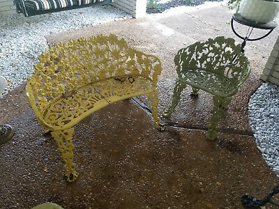 Victorian Antique Ornate Cast Iron Furniture Garden Grape Vines 5 piece Set