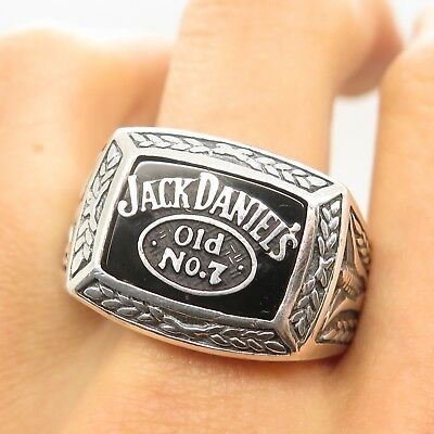 R&C Sterling Silver 2003 JACK DANIELS OLD No.7 Black Onyx Collectible Men's Ring