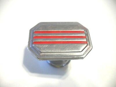 VINTAGE 1940's Chrome Rectangular Drawer KNOBS w 3 RED lines Cabinet Door Pulls