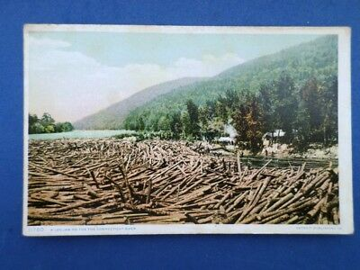 Antique Postcard A Log Jam On The Connecticut River Timber Industry Of Days Past