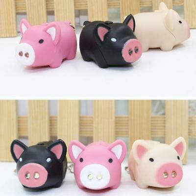 1 Pc New Cute Pig LED Sound and Light Keychain Key Ring Bag Car Key Chain JAZZ