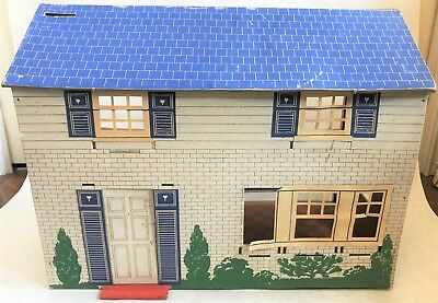 Vtg Cardboard Dollhouse Blue Roof 1 16 Doll House Antique 1940s