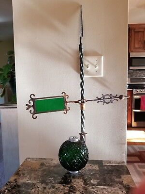 """Vintage Green Emerald Quilted Glass Ball & Arrow Weather Vane Lightning Rod 58"""""""