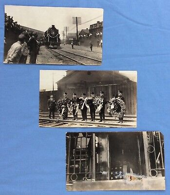 Antique Real Photographs Locomotive Steam Engine  Funeral Train New York Central