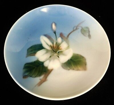Vintage PORCELAIN Round ROYAL COPENHAGEN Hand Painted Round PLATE Floral TRAY #1