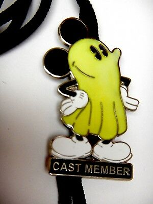 Disney Cast Member ID Bolo Lanyard Mickey Ghost Costume Glow in the Dark