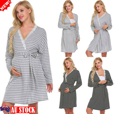 Pregnant Women Lace-up Striped Sleepwear Maternity Nursing Pajamas Nightgown AU