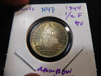 N47 Switzerland 1944 1/2 Franc BU Rainbow Toning