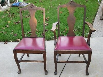 2 Vtg Dinner Table Chairs One With Arm Rest One Without