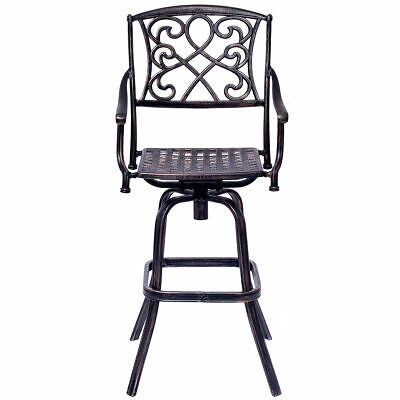 Outdoor Vintage Style Cast Aluminum Swivel Bar Pub Stool Patio Kitchen Furniture