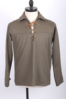 Vtg Woolrich Wool Western Lace Up Pullover Shirt Ds Nwots Mens Size Medium